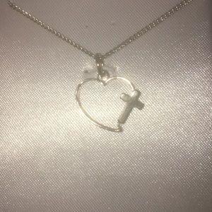 Sterling silver NIB heart & cross chain necklace